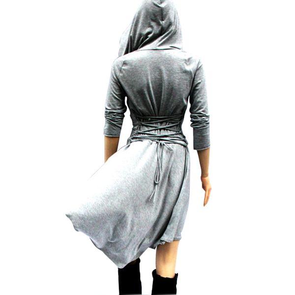 Trenchcoat für Damen Gothic Hooded Lace up Renaissance Trenchcoat Langarm casaco feminino