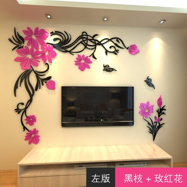 New arrival Acrylic Crystal wall stickers Fashion flower vine Butterfly tv wall stickers DIY art wall decor 3D home decoration