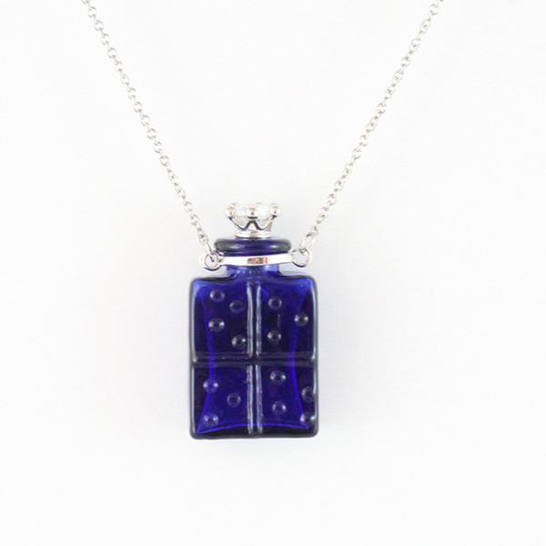 4 estilo botella de aceite esencial de Perfume collar puede abrir el colgante de cristal cuadrado deseando botella cadena de clavícula hecha a mano joyería de DIY