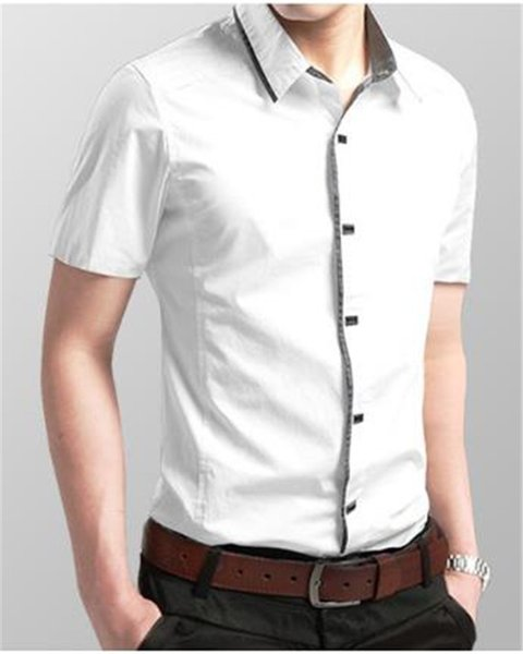 Mens Summer Pure Color Shirts Fashion Designer Casual Shirts Boy Turn Down Collar Short Sleeve Clothes