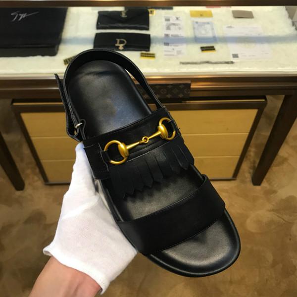 2019men sandalet high-end marka lüks terlik tasarımcı moda trendi el yapımı ayakkabı fabrikası doğrudan ücretsiz kargo