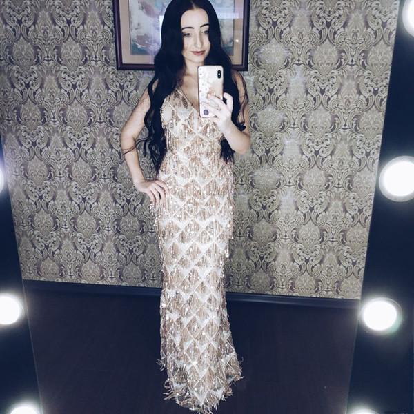 2019 Sparkly Long Champagne Vestidos de noche Sirena Spaghetti con lentejuelas Vestidos de fiesta Formales Abendkleider batas de fiesta abiti da ballo A12