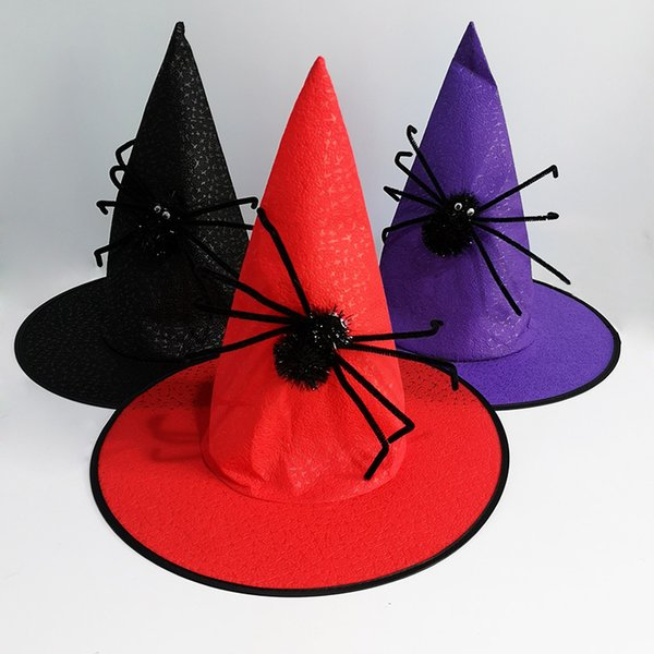 Spider Wizard Hat Halloween Adult Kid Dress Witch Hat Festival Funny Celebration Magician Designer Hat Free Shipping