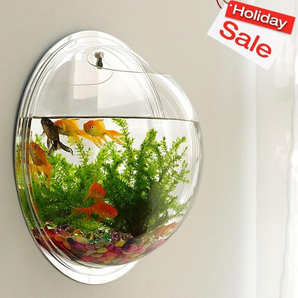 Akrilik Fish Bowl Ev Dekorasyon Akvaryumlar Saksı Dekor Çiçek Vazo Asma Yaratıcı Duvar
