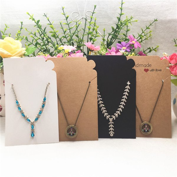 50Pcs/Lot 15x9cm Craft Paper Necklace And Hand Chain Cards For Ladies Accessories Jewelry Package Display Card +50pcs OPP Bags