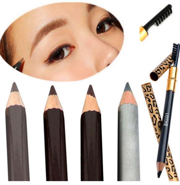 Leopard Augenbraue Wasserdicht Schwarz Braun Grau Bleistift Mit Pinsel Make-Up Eyeliner Frauen Schatten Augenbraue Stift 5 farben GGA1797