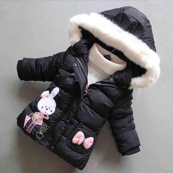 96352f74a78 BibiCola Babys Girl Thicken Winter Coat Newborn Girl Cute Warm Jacket  Infant Cartoon Rabbit Print Hooded Snow Outerwear Light Down Jacket Kids  Down ...