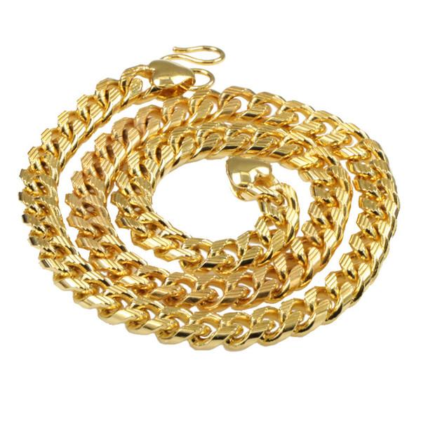 peso pesado! 120g 18ct real ouro amarelo cheio de homens cadeia colar de corrente de ligação de freio 10mm jóias