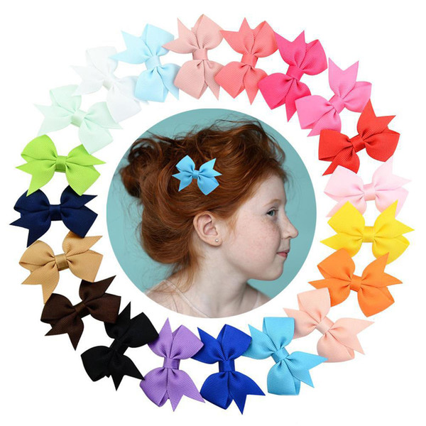 5.5 cm Baby Barrettes In Stock Boutique Bow Hair Clip Grosgrain Ribbon Hair Bows For Girls Hair Accessories Barrette 20 Colors