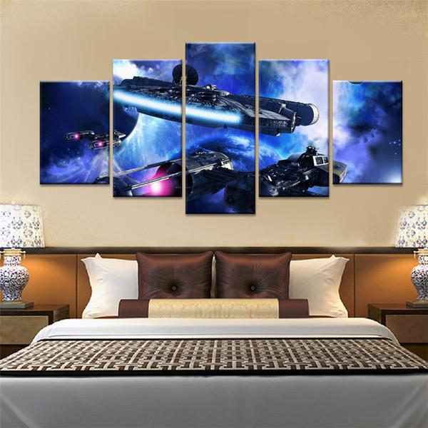Millennium Falcon - 1,5 pièces HD sur toile, impression de peinture neuve, décoration de la maison / sans cadre / encadrée
