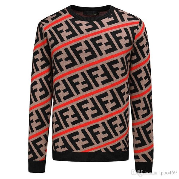 Printed Men Sweaters Fashion FF Cartoon Pattern Sueter Hombre O-neck Jumpers Pullover Sweater Male Knitwear Brand Clothing Sweatshirts