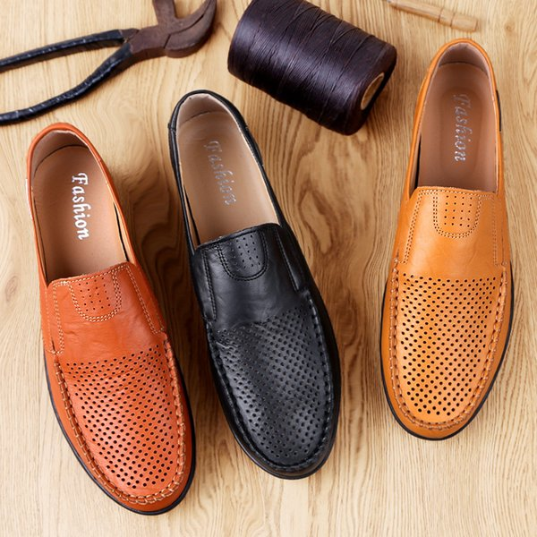 Magic2019 Ventilation Cowhide Man Hollow Out Soft Sole With Dense Holes Drive Shoe Set Foot Leisure Time Leather Shoes Male
