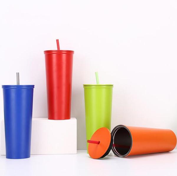 NOUVEAU 600ML Creative nouveau en acier inoxydable paille tasse double isolation thermique tasse mode cadeau café tasse H206