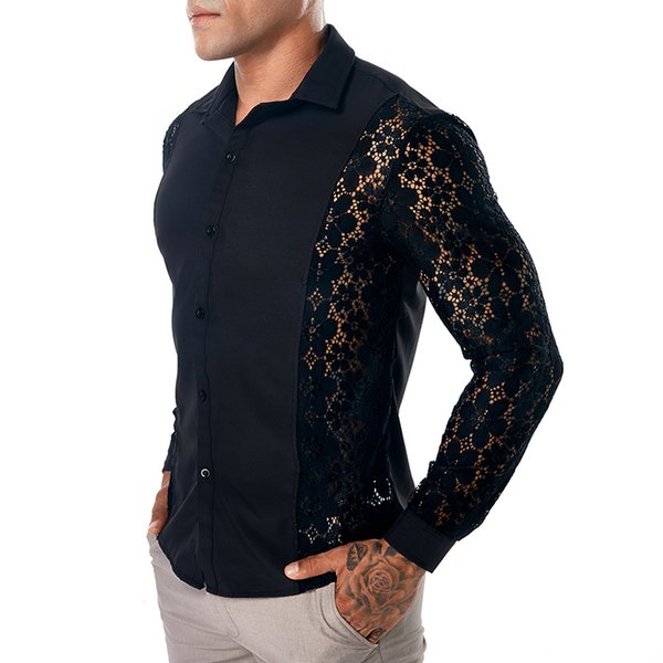 2019 new party club style shirts for men good quality Lace hollow long sleeve dress shirt men slim fit