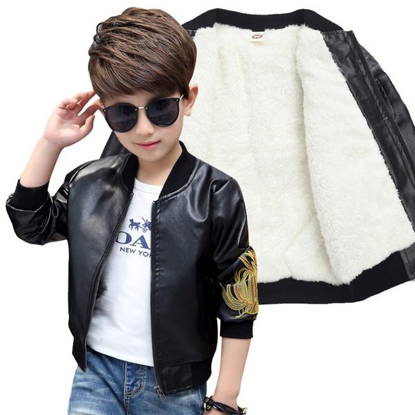 Marke Mode Winter Kind Mantel Wasserdichte Stickerei Baby Jungen Lederjacken Kinder Outfits Für Alter 3-14 Jahre alt