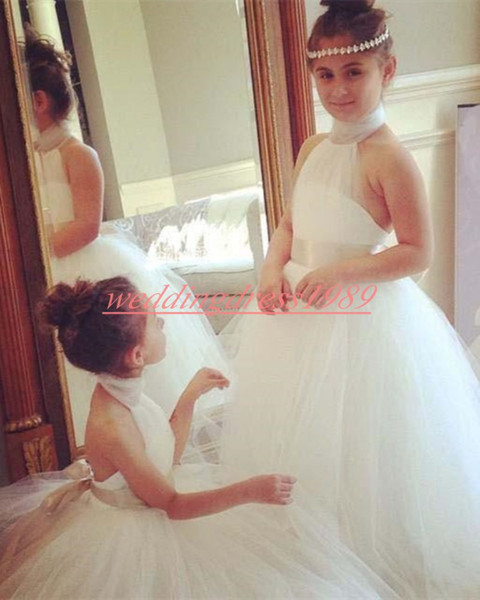 Cute Halter White 2019 Flower Girls Dresses A-Line Tulle Cheap Girls Party Formal Gowns First Communion Dresses Kids Tutu Birthday Wedding