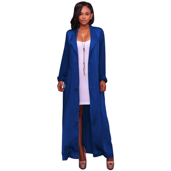 Foreign trade European and American Fashion Chiffon long-sleeved cardigan jacket Amazon hot-selling lengthened style