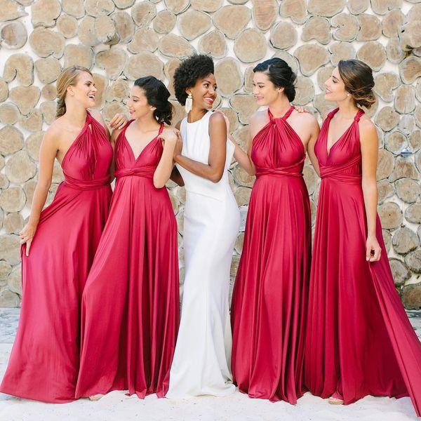 Compre Vestidos Largos De Color Rojo Cereza Para Dama De Honor Múltiples Cuellos Una Línea Vestido De Dama De Honor Vestido De Fiesta Por La Noche