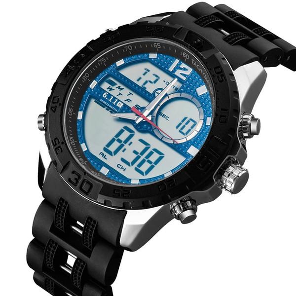 6.11 Yeni Moda Plastik Watch Band Fonksiyonlu Aydınlık Çift Hareketi 30 M Su Geçirmez Açık LED İzle Erkekler Spor