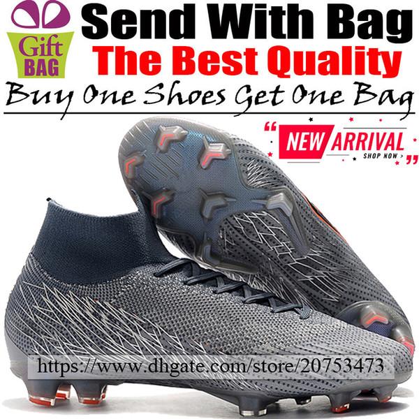New Football Cleats High Tops Mercurial Superfly VI FG ACC Soccer Shoes Mens Original Outdoor Socks Football Boots Grey Orange Black 39-46