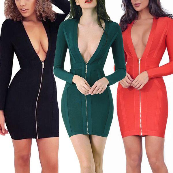 2019 cor vermelha manga comprida vestido decote em v profundo mini vestido sexy bodycon plus size xl