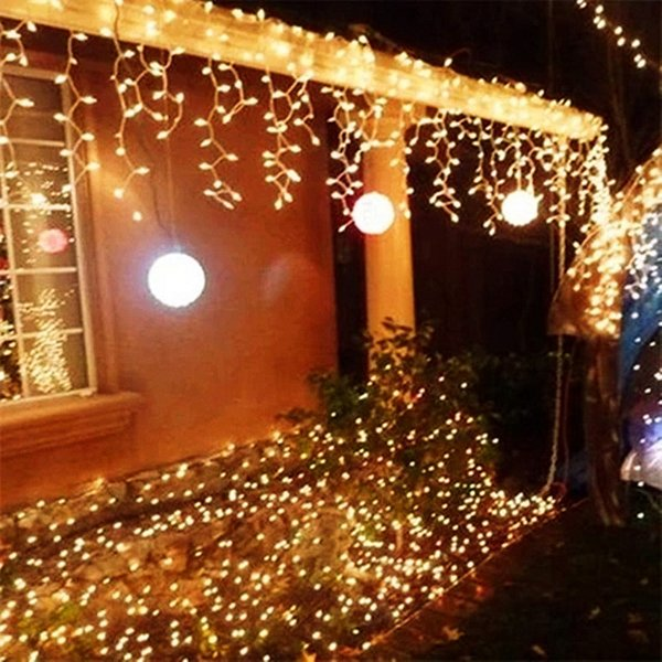 10m X 0 5m 320 Lamps Led Icicle Lights Outdoor Home Christmas Decorative Xmas String Fairy Curtain Garlands Party Lights For Wedding String Of