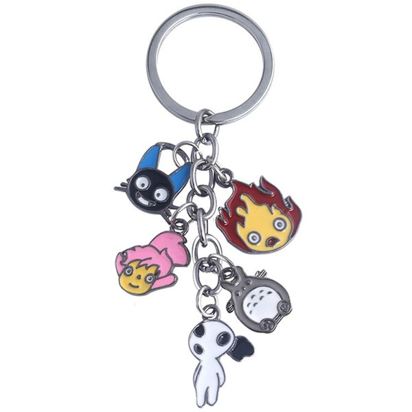 Bonito Japonês Anime Cinza Meu Vizinho Totoro Keychain Metal Figuras Pingentes Chaveiro Brinquedo