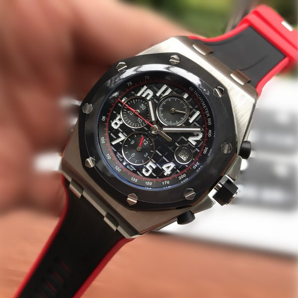 Luxury Mens Watches Sport Silicone Strap Import Mechanical Automatic Watch 45mm Black Dial 316L Stainless Steel Wristwatch BOX R143
