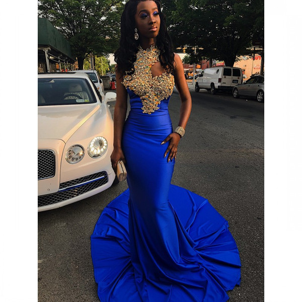 53182f6fef7 Royal Blue Mermaid Black Girls Prom Dresses Halter Neck Lace Appliqued  Party Dress Sweep Train Satin