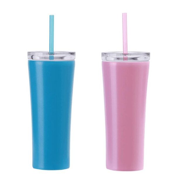 Stainless Steel Tumblers Vacuum Insulated Dazzling Cup with Lid and Straw Double Wall Vacuum Cups Outdoor Water Bottles 4 styles GGA2360