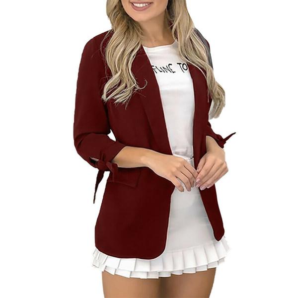 Moda Donna dal collare Tailored sportiva del vestito del rivestimento del cappotto Slim manica lunga autunno solido formale Top occultamento del bikini