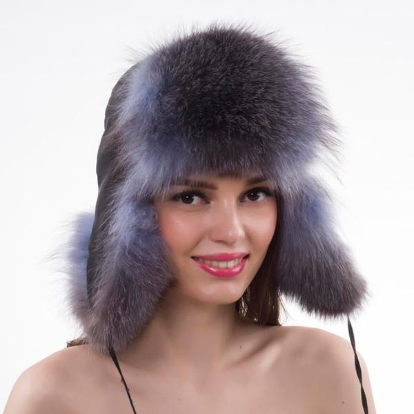 d44badf51eb Women Lovely Real Fox Fur Hats Natural Raccoon Fox Fur Russian Ushanka Cap  Winter Quality Thick Warm Bomber Hat