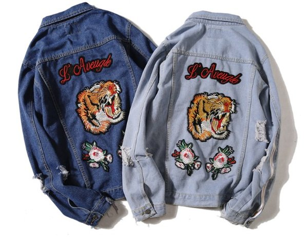 Spring and autumn Fashion Washed Destroyed vintage Cowboy Famous Biker denim jacket Ripped Mens women Tiger patch denim jacket Coat