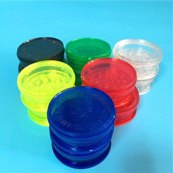 Vente en gros 500 Pieces / Lot bon marché 2,63 pouces Six couleur acrylique 3 Herb Grinders de pièces en plastique Grinders Smoke Herb Herb Grinders Fress Livraison