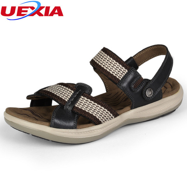 UEXIA Men Sandals Leather Summer Shoes Breathable High Handmade Casual Footwear Beach Sandals Unisex Outdoor Shoes Plus Size 47