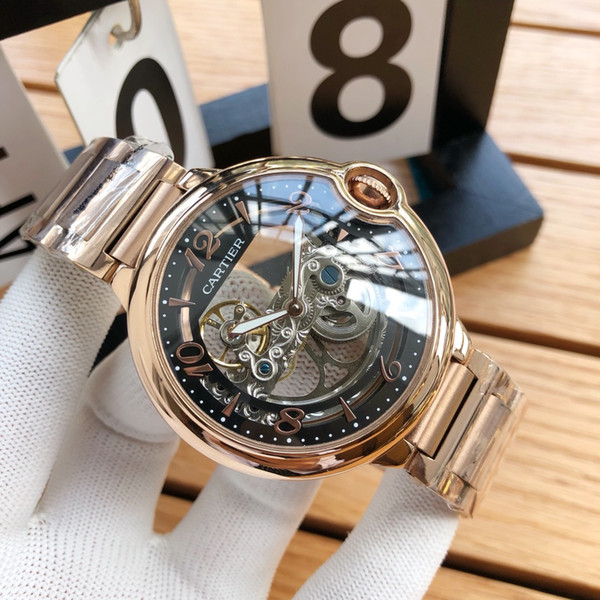 Male 2019 latest 42MM smooth edge automatic mechanical watch high strength glass classic hollow dial model original folding buckle