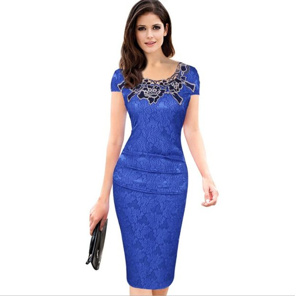 2019 Fashion Tight new short-sleeved rose lace sexy dress pencil dress fashion women's dress foreign trade European station