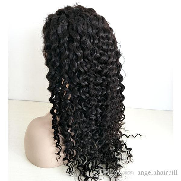 Angelawigs profundamente rizado del cabello humano encaje completo pelucas Pre desplumados línea natural del cabello con el pelo del bebé 130% de densidad nudos blanqueados para las mujeres negras