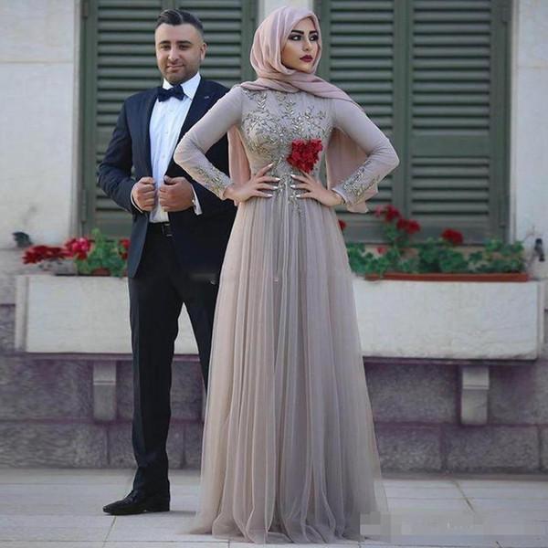 Мусульманские вечерние платья 2019 с аппликацией с длинными рукавами Арабский выпускного вечера вечерние платья из тюля Дешевые платья A Line