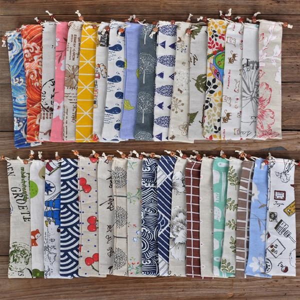 Sac de style japonais Portable Art de la table de stockage pour les couverts Pouch Drawstring Cuillère Couteau de transport Chopsticks Voyage Case
