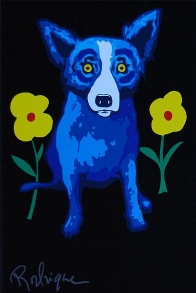 Cão azul -23, 1 peças de decoração para casa HD Impresso Arte Moderna Pintura sobre Tela (Sem Moldura / Emoldurado) 16X24.