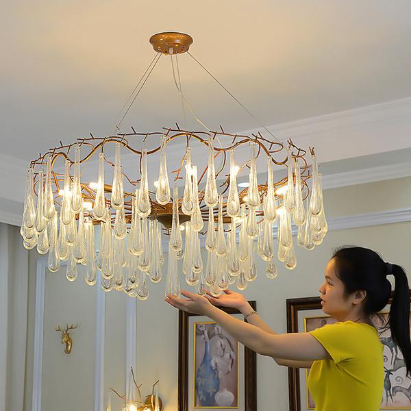 Moderne Lustre en cristal Salon de cristal décoration lustrés Pendentifs français et lustres Éclairage intérieur lampe AC 100-260