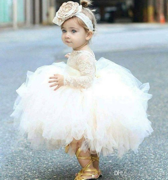 Vintage Flower Girls' Dresses Ivory Baby Infant Toddler Baptism Clothes With Long Sleeves Lace Tutu Ball Gowns Birthday Party Dress9870