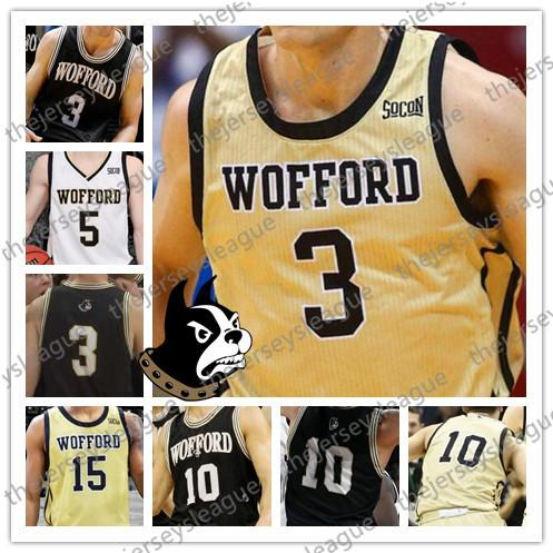 Wofford Terriers Custom Any Name Number Stitched Black Gold White NCAA College Basketball Jersey #1 Chevez Goodwin 3 Fletcher Magee