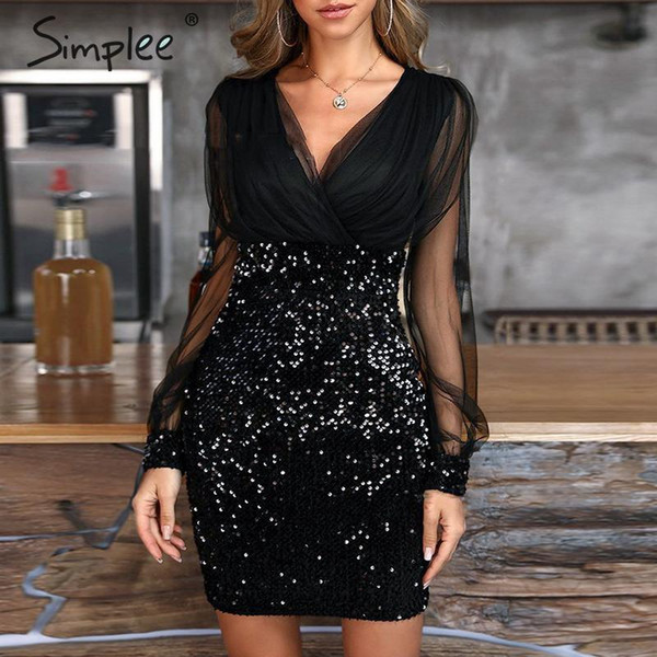 Simplee Sexy Mesh Sequin Bodycon Female Dress Long Sleeve Black Summer Plus Size Dress Vintage Party Womens Clothing Dress Festa J190430