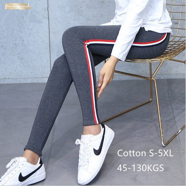 Qualität 5Xl Baumwollgamaschen Side Stripes Frauen-beiläufige Legging Hosen mit hoher Taille Fitness Leggings Pralle Female Plus Size Hoch