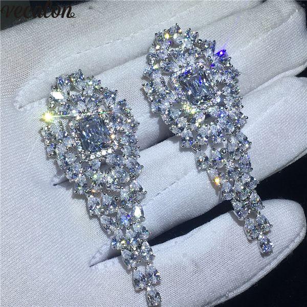 Luxury Female Flower Dangle earring Diamond S925 Sterling Silver Engagement wedding Drop Earrings for women Jewelry