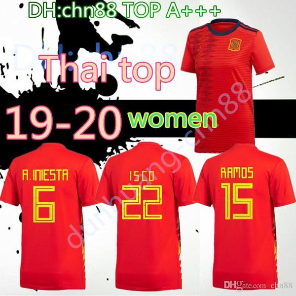 2019 2020 Espagne Coupe du Monde Femmes Espana Morata fille dame Maillot de foot A.INIESTA FABREGAS RAMOS COSTA SILVA ISCO