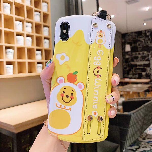 YunRT Arc Bear Wristband Cartoon Summer Fruits Avocado Fashion Mobile Phone Case for iPhone 6 6s 6splus 7 8 Plus 10 X XR XS MAX Cover