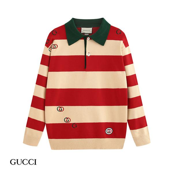 Новый шерстяной пуловер свитер свитер 2019 горячие продажи мужчин и женщин с v-образным вырезом отворотом мода повседневная классическая письмо свитер пальто